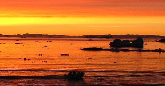Midnatssol i Diskobugten, Grønland